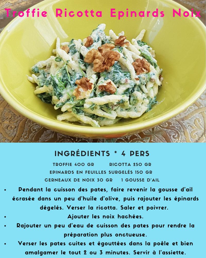 Pasta Ricotta Epinards Noix