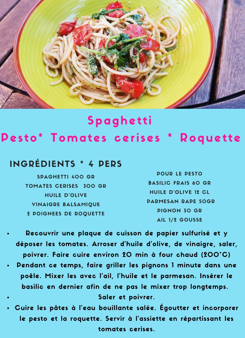 Pasta Pesto Tomates Cerises Roquette